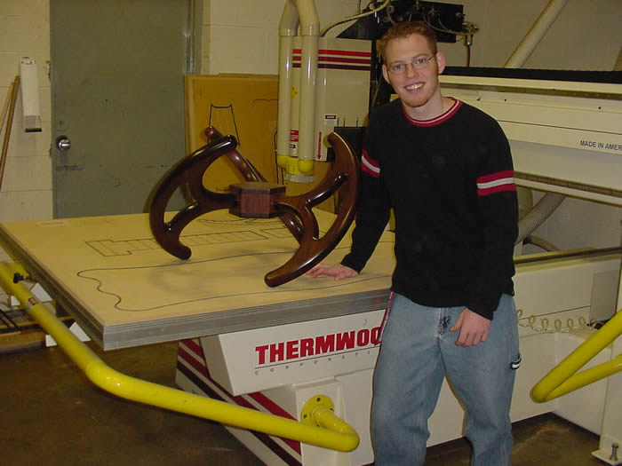 Student with Thermwood CNC router